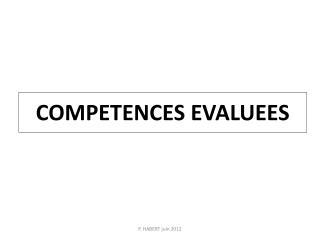 COMPETENCES EVALUEES