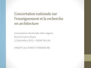 Concertation nationale sur l'enseignement et la recherche  en architecture
