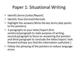 Paper 1: Situational Writing