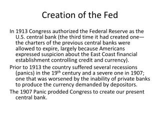 Creation of the Fed