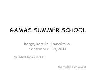 GAMAS SUMMER SCHOOL