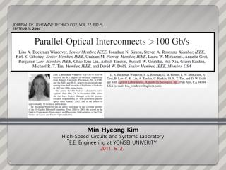 Min- Hyeong  Kim High-Speed Circuits and Systems Laboratory E.E. Engineering at YONSEI UNIVERITY