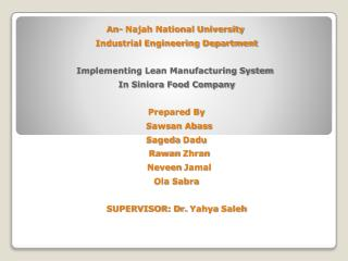 An-  Najah  National University  Industrial Engineering Department