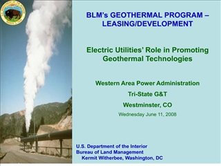 BLM s GEOTHERMAL PROGRAM   LEASING