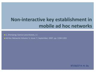 Non-interactive key establishment in mobile ad hoc networks