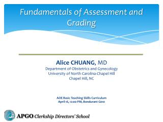 Fundamentals of Assessment and Grading