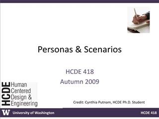 Personas  Scenarios