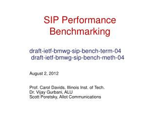 SIP  Performance Benchmarking