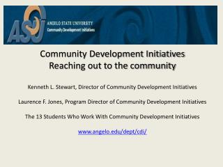 Community Development Initiatives Reaching  out to the  community