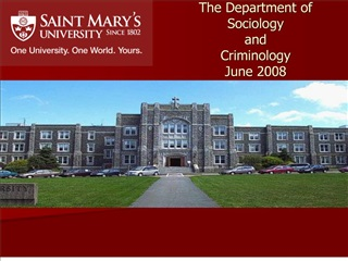 The Department of  Sociology  and  Criminology June 2008