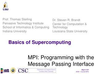Basics of Supercomputing
