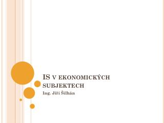 IS v ekonomických subjektech