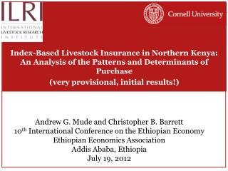 Andrew G. Mude and Christopher B. Barrett 10 th  International Conference on the Ethiopian Economy