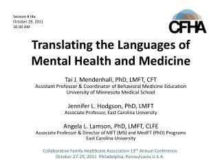 Translating the Languages of Mental Health and Medicine