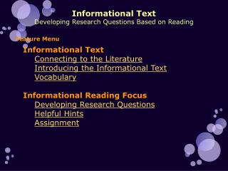 Informational Text Developing Research Questions Based on Reading