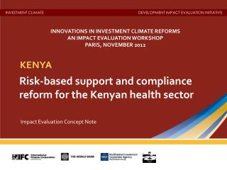 Risk-based support and compliance reform for the Kenyan health sector