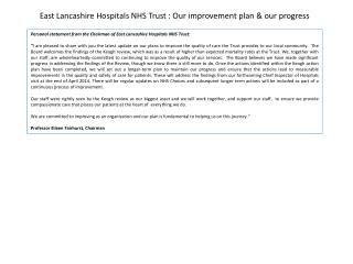 East Lancashire Hospitals NHS Trust : Our improvement plan & our progress