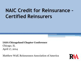 NAIC Credit for Reinsurance � Certified Reinsurers