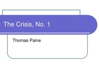 The Crisis, No. 1