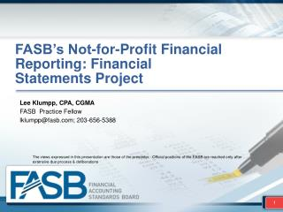 FASB�s Not-for-Profit Financial Reporting: Financial Statements  Project