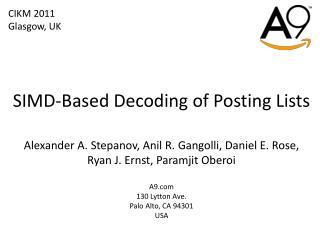 SIMD-Based Decoding of Posting Lists