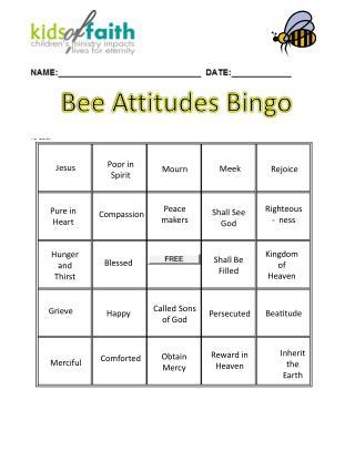 Bee  Attitudes Bingo