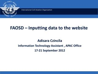 FAOSD � Inputting data to the website