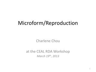 Microform/Reproduction