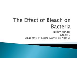 The Effect of Bleach on Bacteria