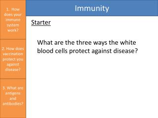 Starter 	What are the three ways the white blood cells protect against disease?