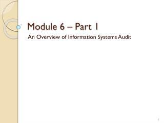 Module  6  – Part 1