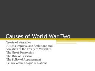 Causes of World War Two