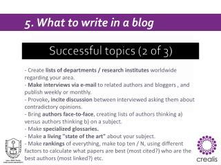Successful  topics (2 of 3)