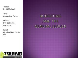 Budgeting and the general ledger