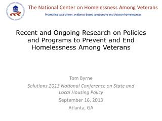Tom Byrne Solutions 2013 National Conference on State and Local Housing Policy