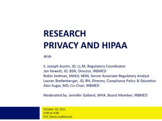 RESEARCH  PRIVACY  AND HIPAA With