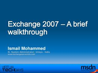 Exchange 2007  –  A brief walkthrough