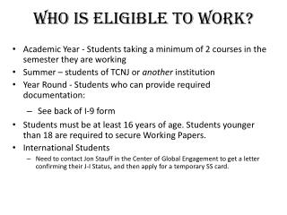 Who Is Eligible To Work?