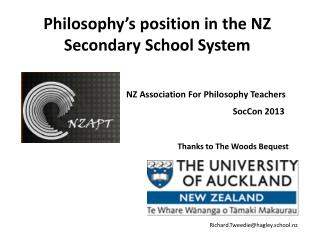 Philosophy's position in  the  NZ Secondary School  System