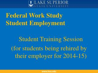 Federal Work Study  Student Employment