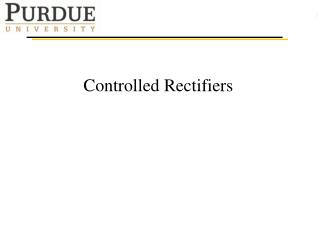 Controlled Rectifiers