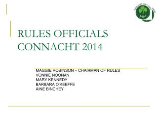 RULES OFFICIALS  CONNACHT  2014