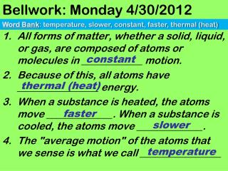 Bellwork: Monday 4/30/2012