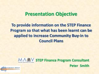 STEP Finance Program Consultant  Peter  Smith