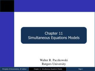 Chapter 11 Simultaneous Equations Models