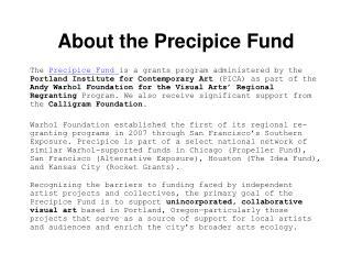 About the Precipice Fund