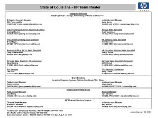 State of Louisiana - HP Team Roster