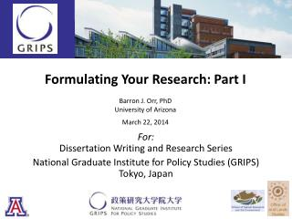 Formulating Your Research: Part I