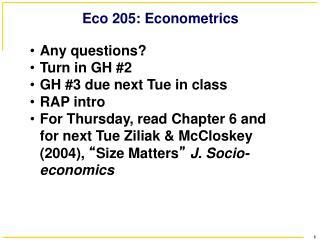 Eco 205: Econometrics