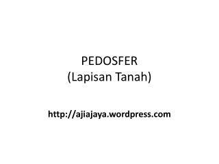 PEDOSFER ( Lapisan  Tanah)